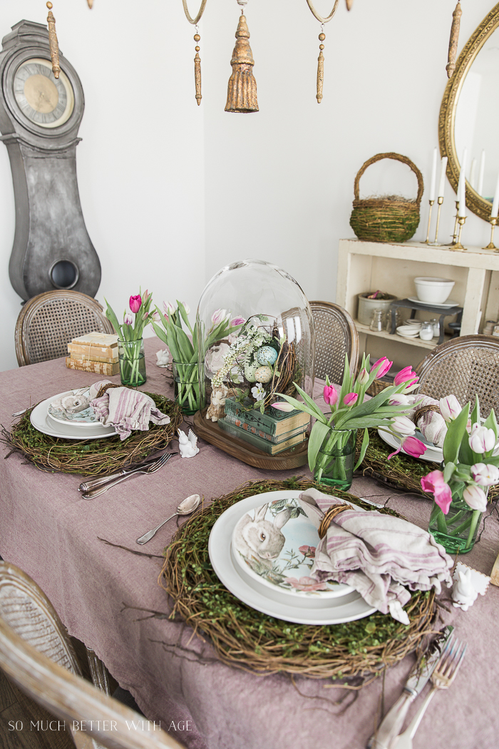 12 Creative Easter Decorating Ideas/bunnies, tulips Easter table - So Much Better With Age