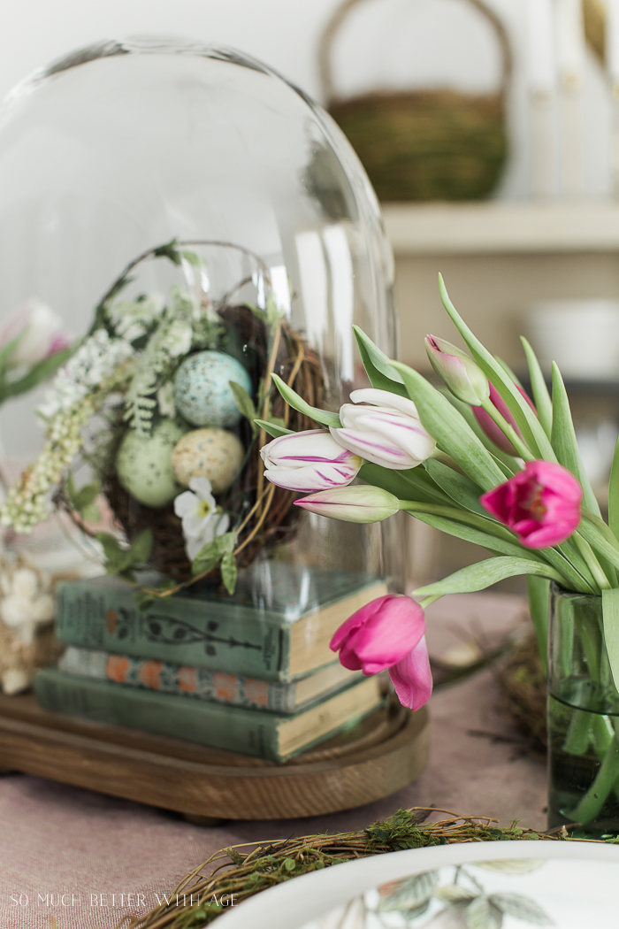 Books, Bunnies and Tulips Easter Table/nest in cloche - So Much Better With Age