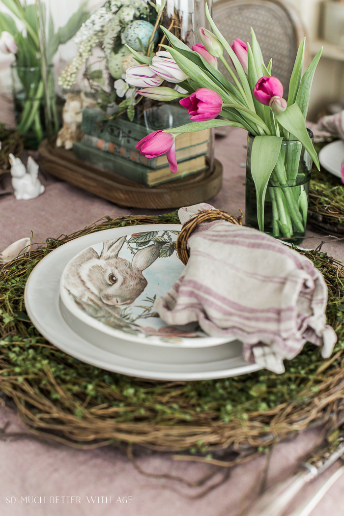 Books, Bunnies and Tulips Easter Table/twig plate chargers, bunny plates - So Much Better With Age