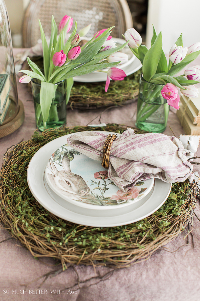 Books, Bunnies and Tulips Easter Table/woven twigs placemats - So Much Better With Age