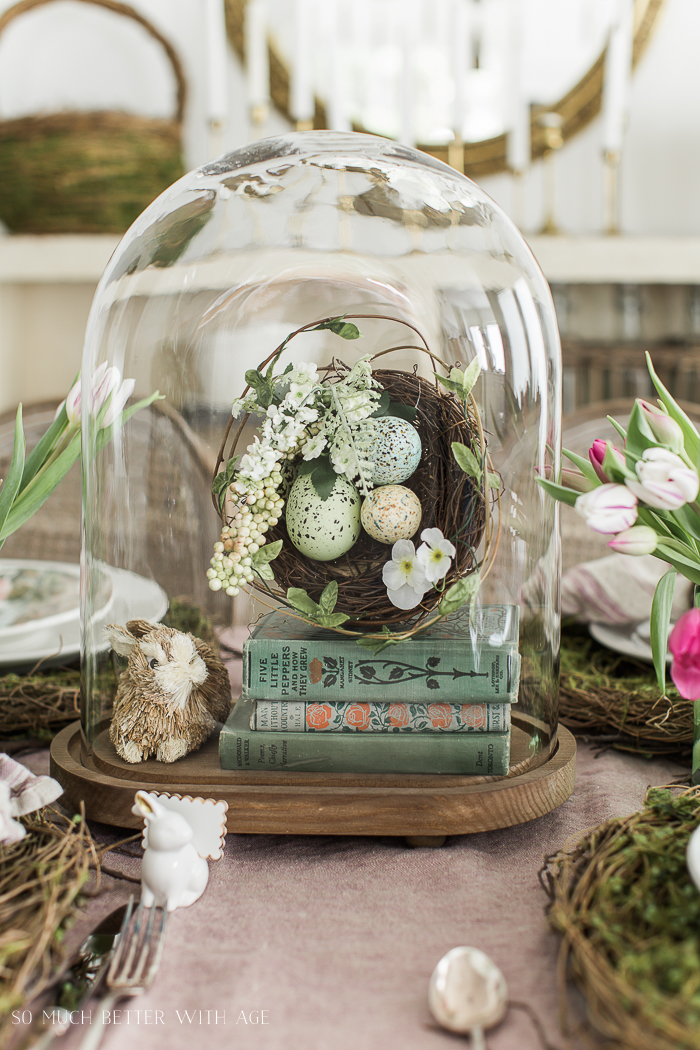 Books, Bunnies and Tulips Easter Table/Restoration Hardware oval cloche - So Much Better With Age