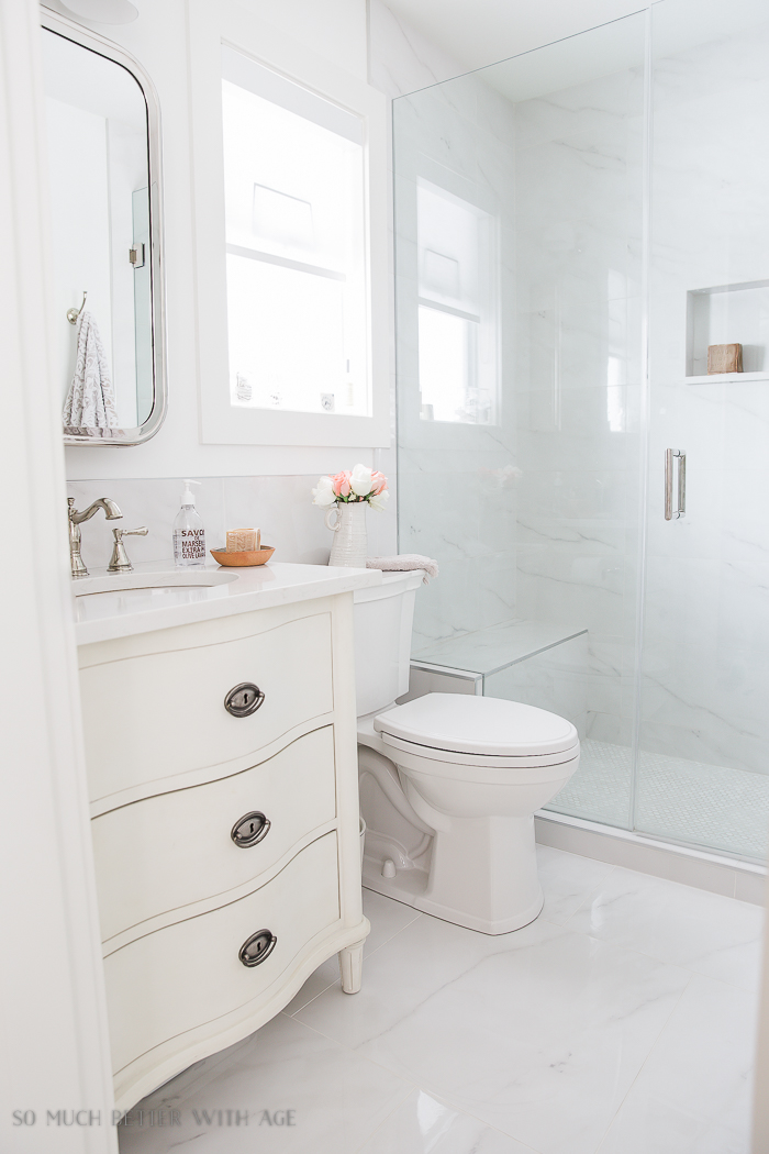 Faux Carrara Marble Porcelain Tile/white bathroom, dresser vanity - So Much Better With Age