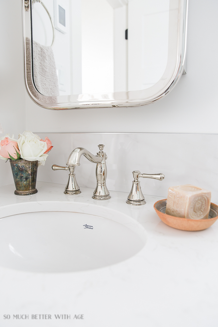 Small bathroom renovation and 13 tips to make it feel luxurious/polished nickel faucet - So Much Better With Age