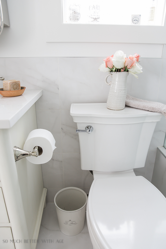 Small bathroom renovation and 13 tips to make it feel luxurious/white toilet - So Much Better With Age