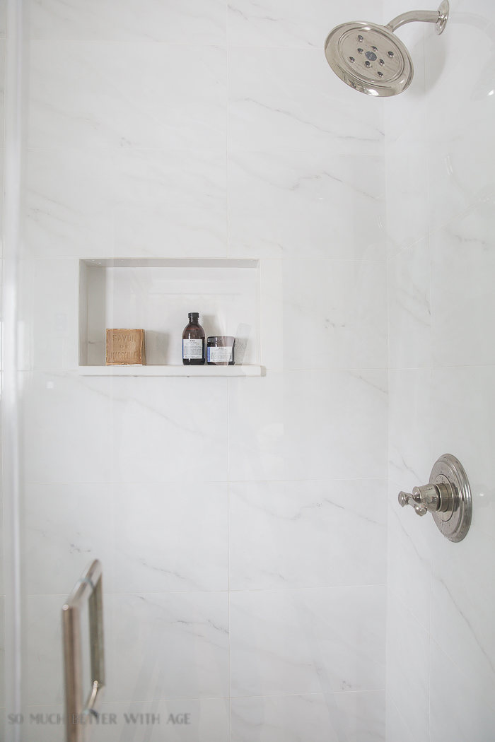 Small bathroom renovation and 13 tips to make it feel luxurious/marble shower - So Much Better With Age