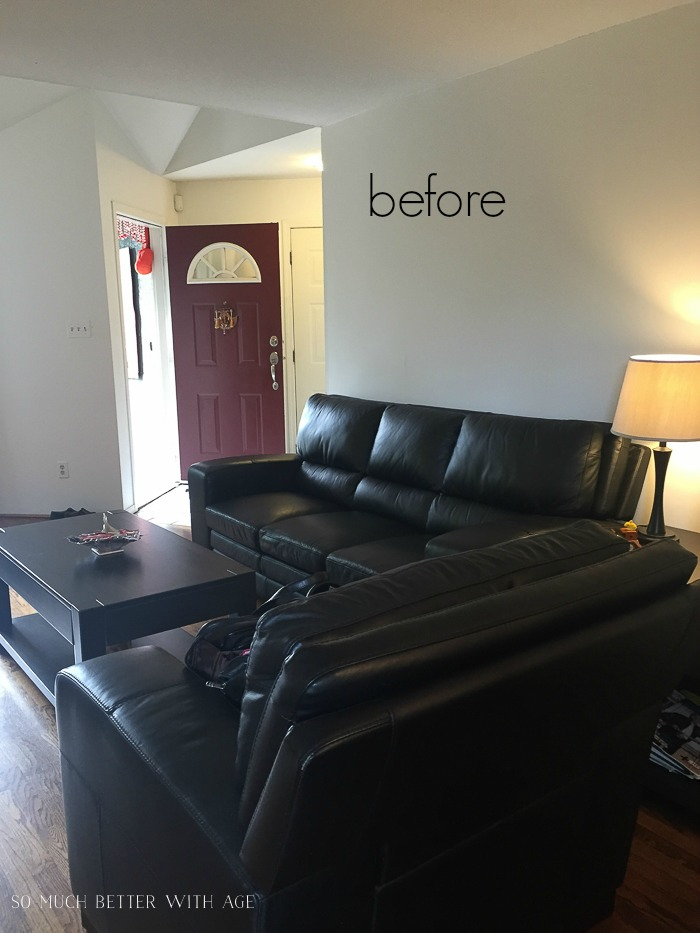 French Vintage Living Room and Foyer/black leather couches - So Much Better With Age