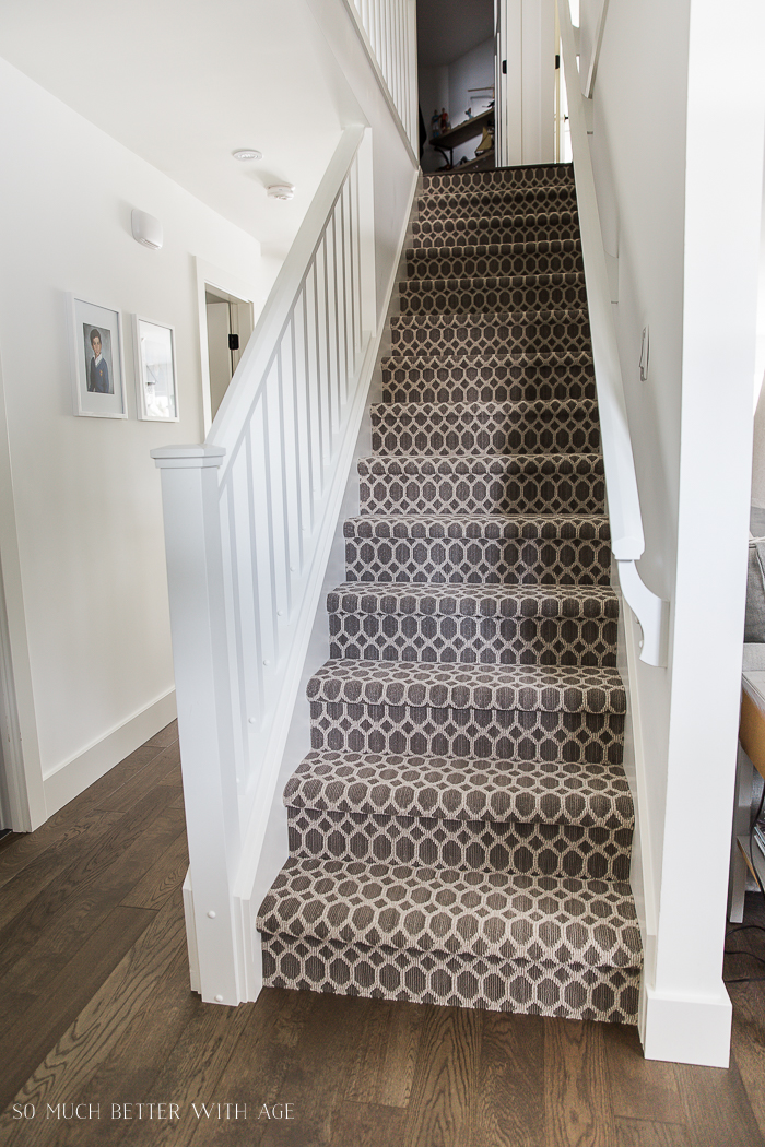 French Vintage Living Room and Foyer/trellis carpet on stairs- So Much Better With Age