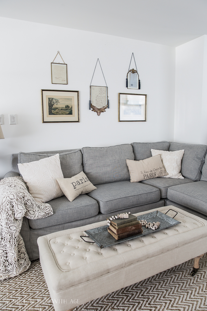 French Vintage Living Room and Foyer/grey sectional, vintage frames - So Much Better With Age