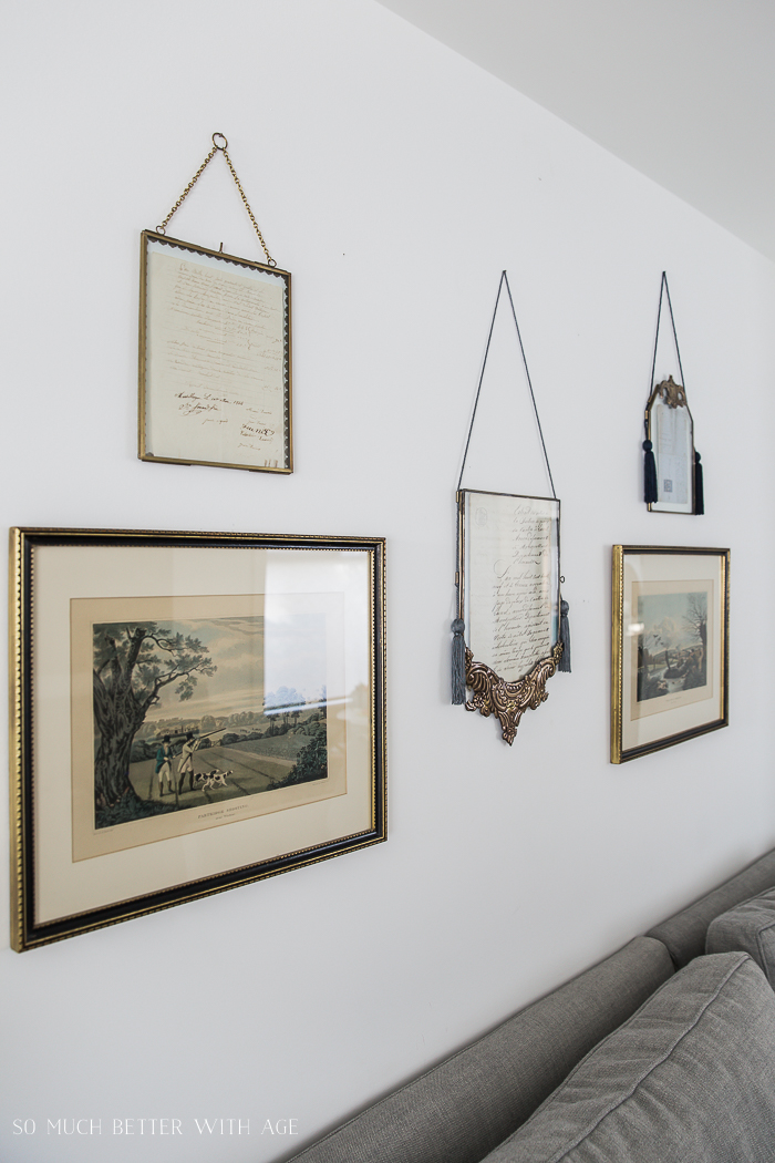 French Vintage Living Room and Foyer/vintage frames - So Much Better With Age
