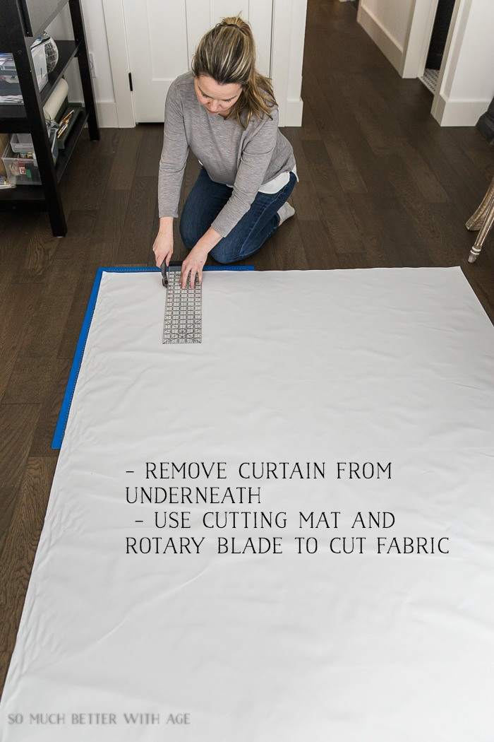 How to Sew Blackout Lining to Store Bought Curtains/ cut fabric with rotary blade - So Much Better With Age