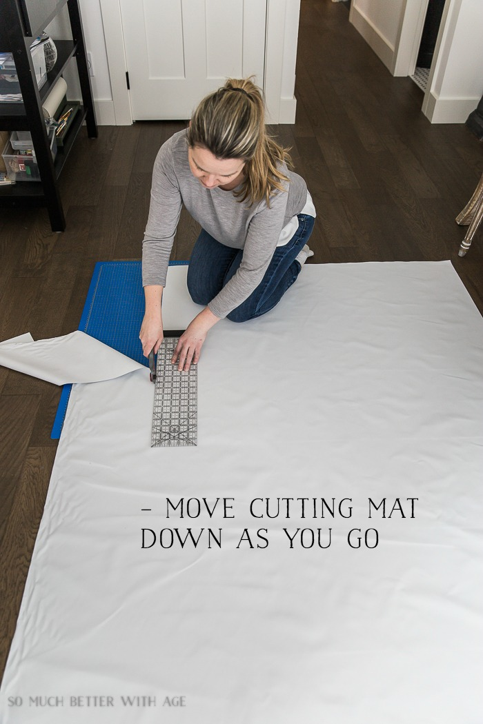 How to Sew Blackout Lining to Store Bought Curtains/ cutting fabric - So Much Better With Age