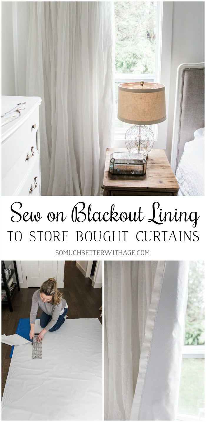Sew on blackout lining to store bought curtains - So Much Better With Age