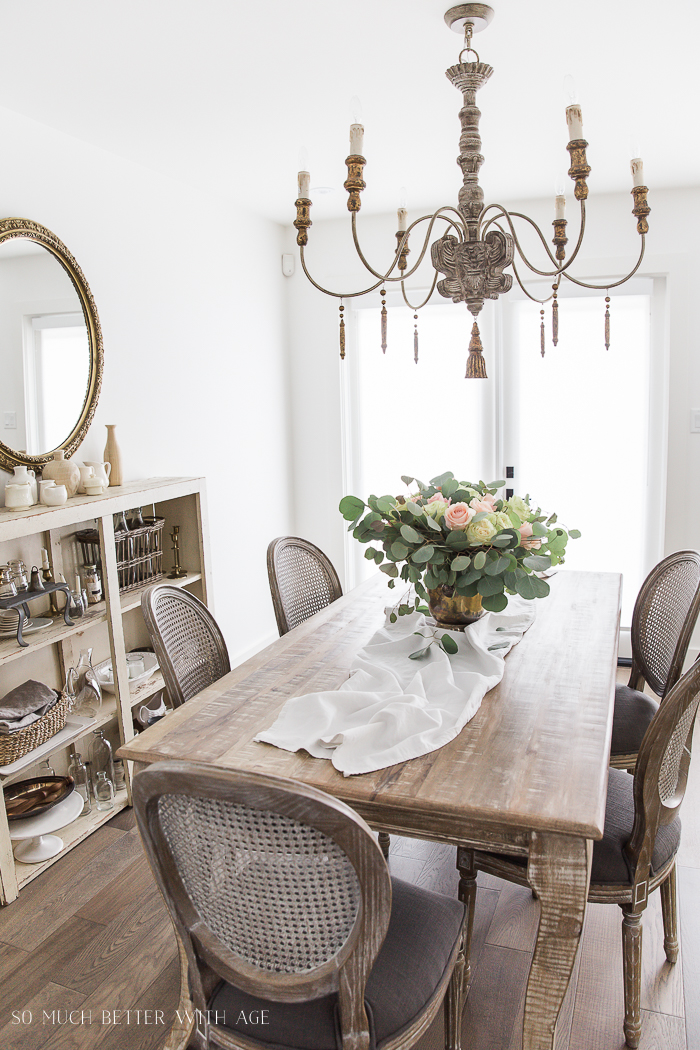Canadian Spring Tour Dining Room/ French chandelier, roses- So Much Better With Age