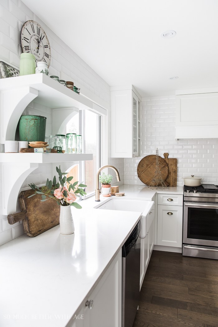 Canadian Spring Tour / white subway tile, green decor - So Much Better With Age