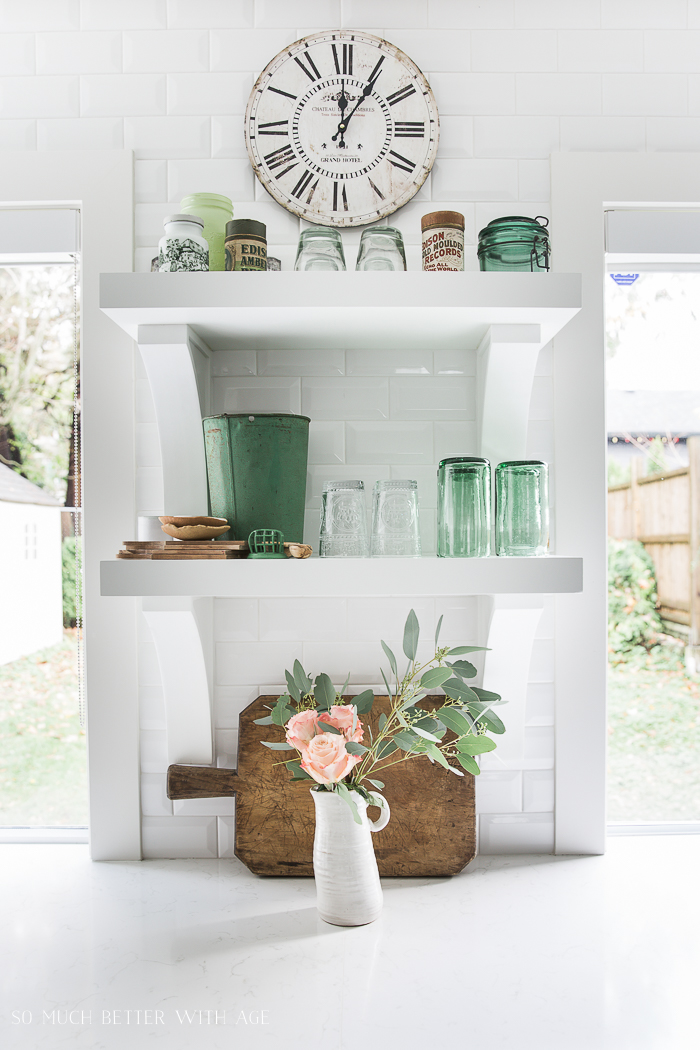 Canadian Spring Tour/white kitchen, white open shelving, green decor - So Much Better With Age