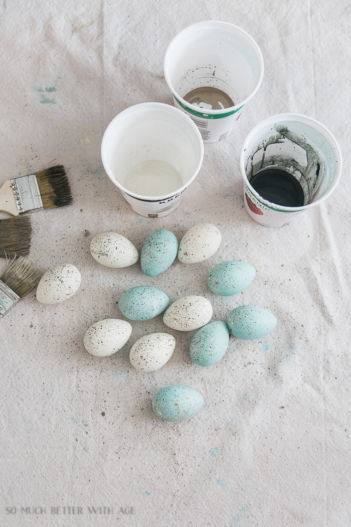 The Perfect Shade of Robin's Egg Blue for Easter Eggs/paint splattered easter eggs - So Much Better With Age