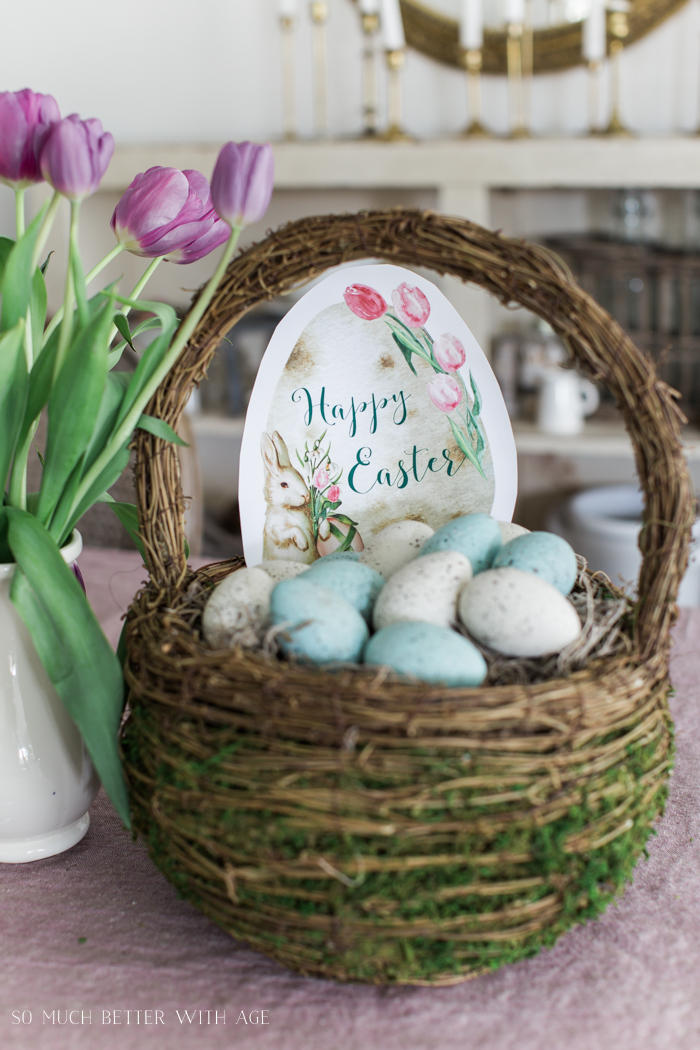 Happy Easter Spring Printable/eggs in basket - So Much Better With Age