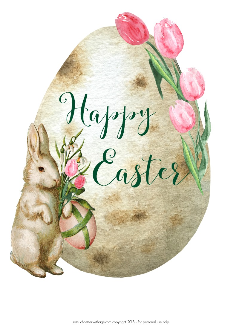 Happy Easter Spring Printable/easter egg and bunny - So Much Better With Age