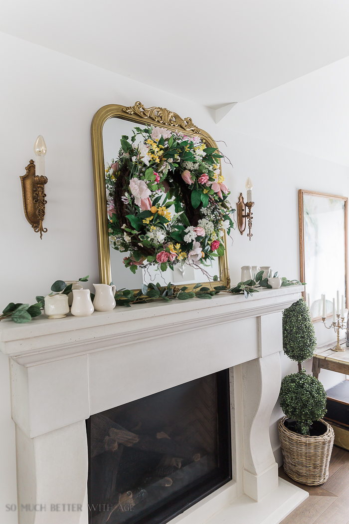 Spring Decorating with Balsam Hill/spring wreath above mantel - So Much Better With Age
