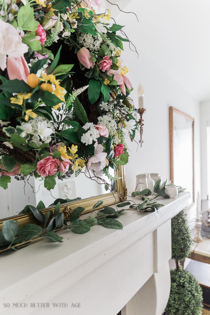Spring Decorating with Balsam Hill/pink floral wreath- So Much Better With Age