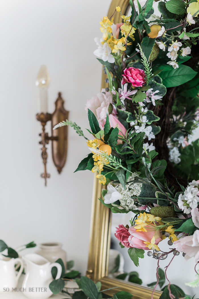 Spring Decorating with Balsam Hill/wreath, gold scones - So Much Better With Age