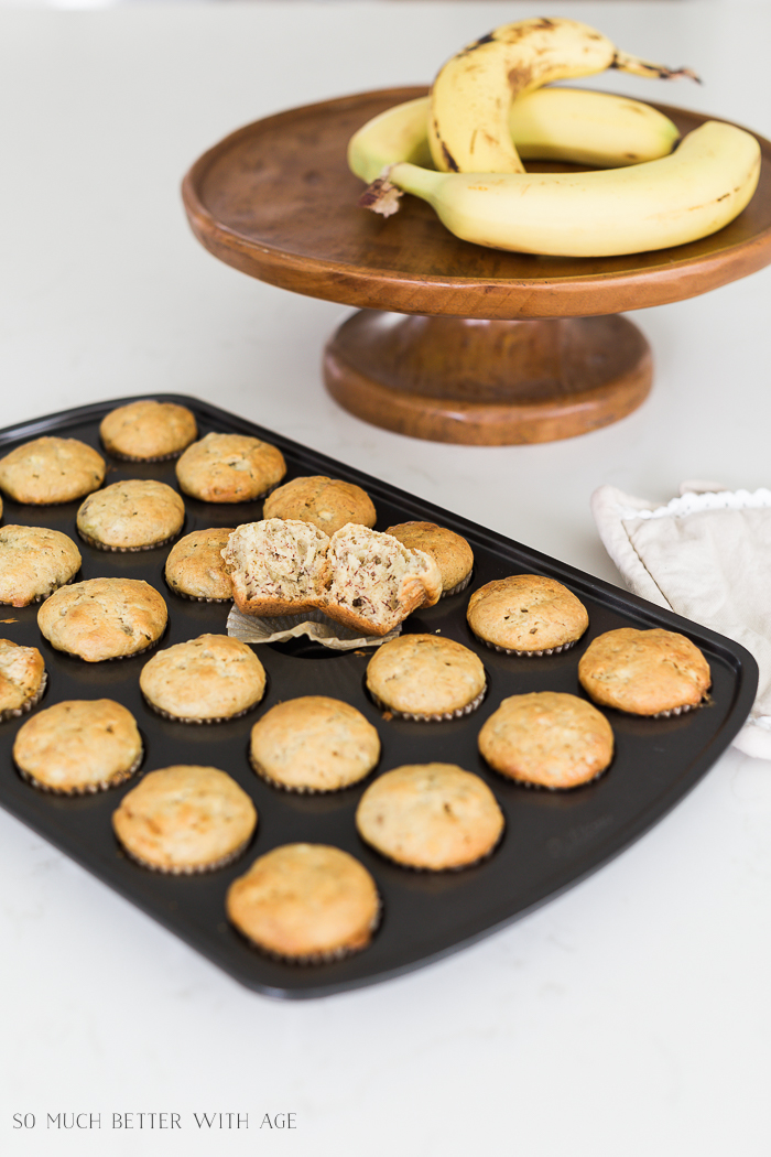 The Best Banana Muffins with Fresh Bananas/mini muffins - So Much Better With Age