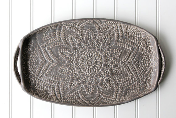 Charcoal lace tray
