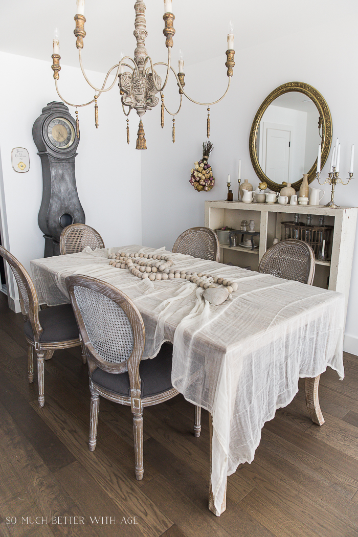 French Vintage Decor by Jamie Lundstrom / cheesecloth tablecloth - So Much Better With Age