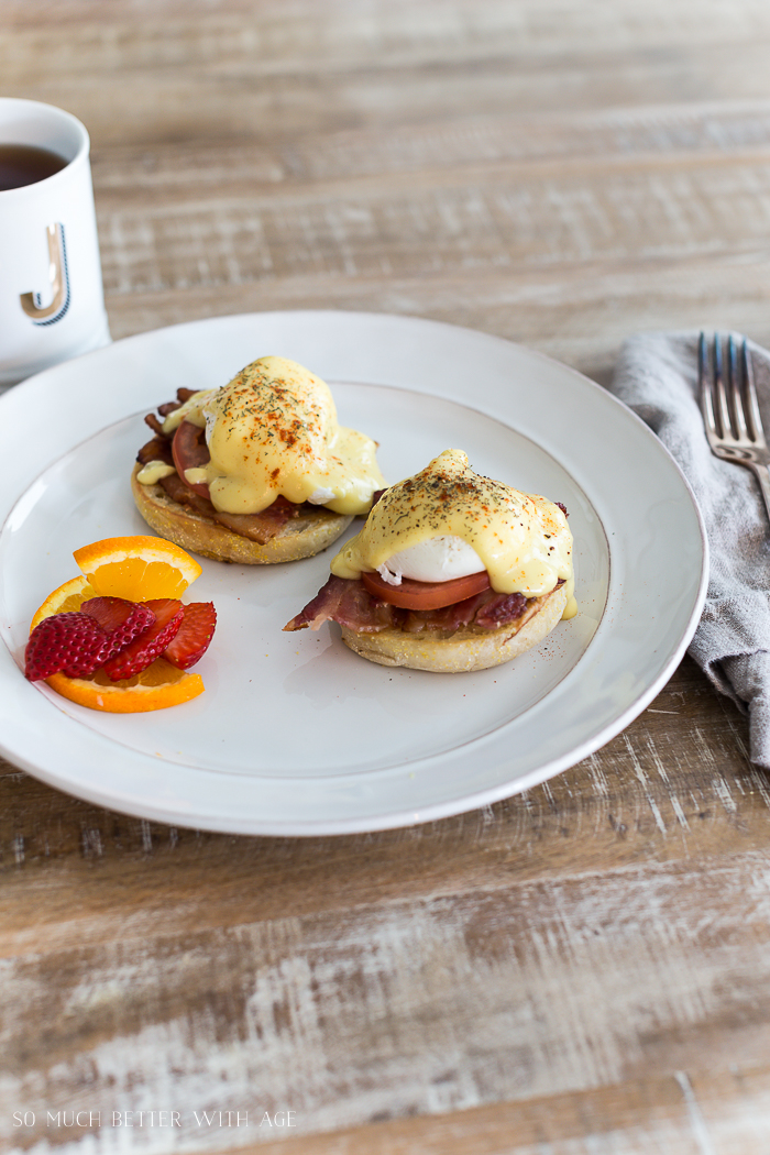 Easy Eggs Benedict with Bacon/hollandaise sauce - So Much Better With Age