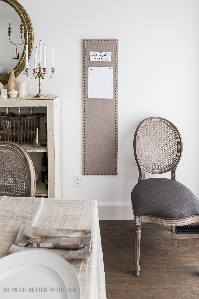 French Vintage Decor by Jamie Lundstrom /long linen bulletin board- So Much Better With Age