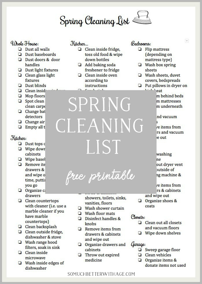 photograph regarding Cleaning List Printable named Spring Cleansing Checklist Printable Therefore A lot Greater With Age