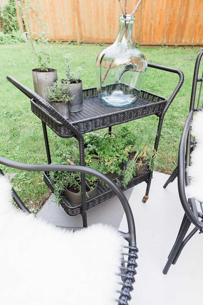 How to Create Two Outdoor Seating Areas in Small Space/outdoor tea cart - So Much Better With Age