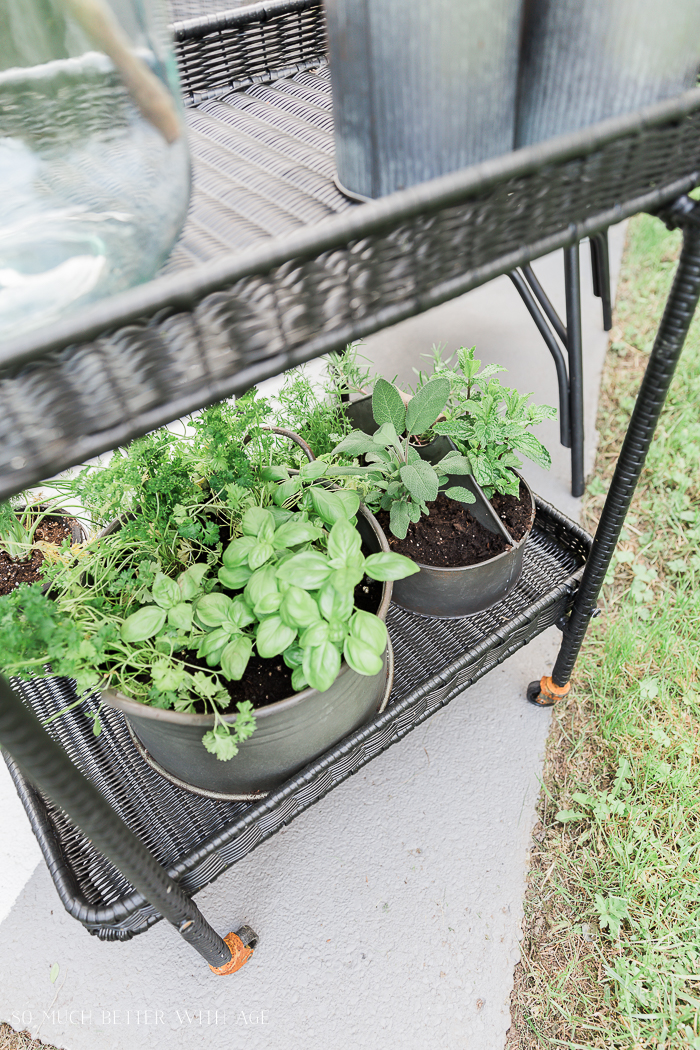 How to Create Two Outdoor Seating Areas in Small Space/herb garden in tea cart - So Much Better With Age