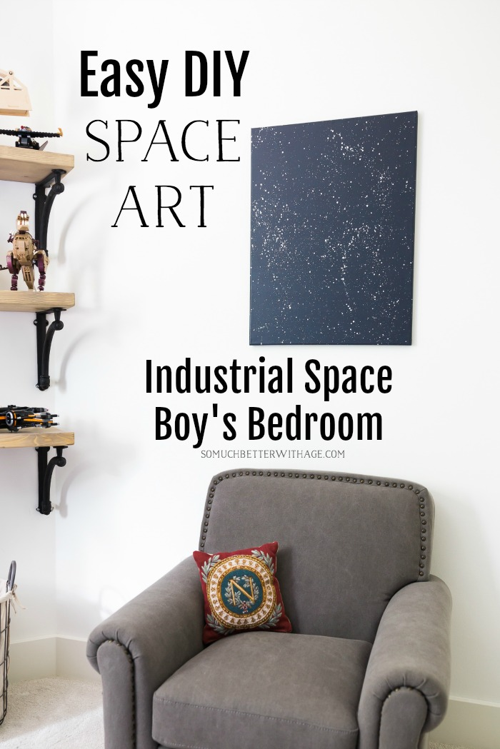 Easy DIY Space Art in Industrial Space Boy's Bedroom - So Much Better With Age