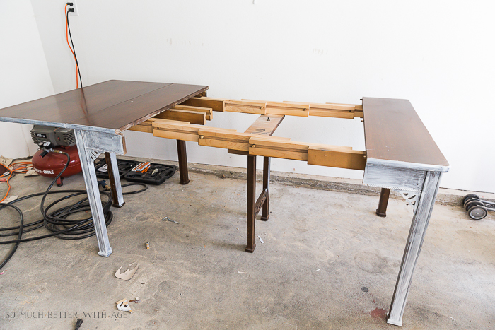 How to Make a Desk from an Extendable Table/vintage table extended - So Much Better With Age