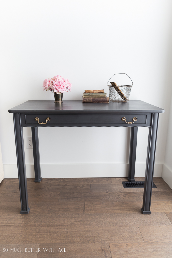 How to Make a Desk from an Extendable Table/charcoal grey painted desk - So Much Better With Age