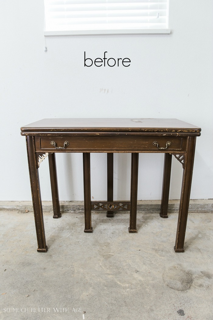 How to Make a Desk from an Extendable Table/before antique table - So Much Better With Age