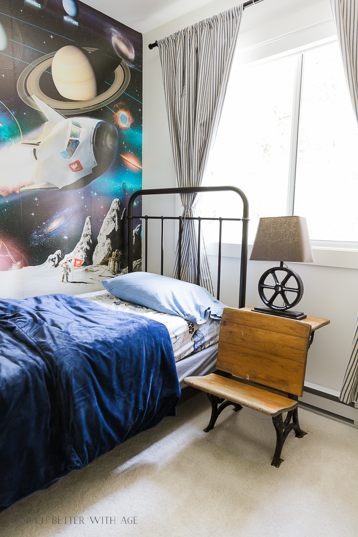 Industrial Space Boy's Bedroom Reveal/space wall mural - So Much Better With Age