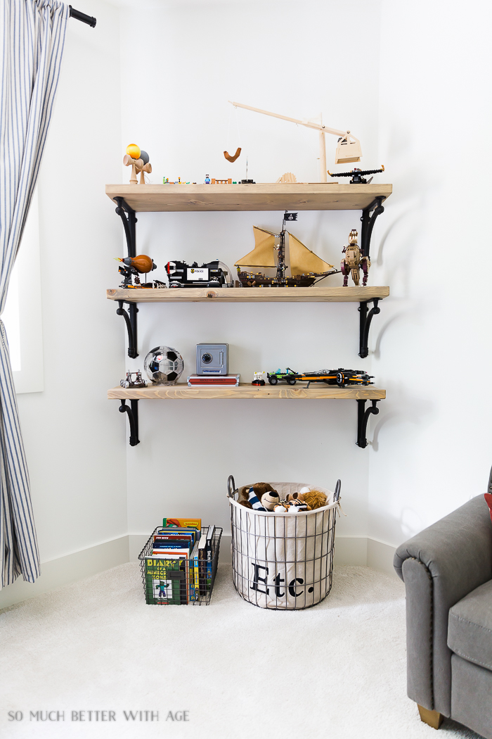 Industrial Space Boy's Bedroom Reveal/rustic shelves - So Much Better With Age