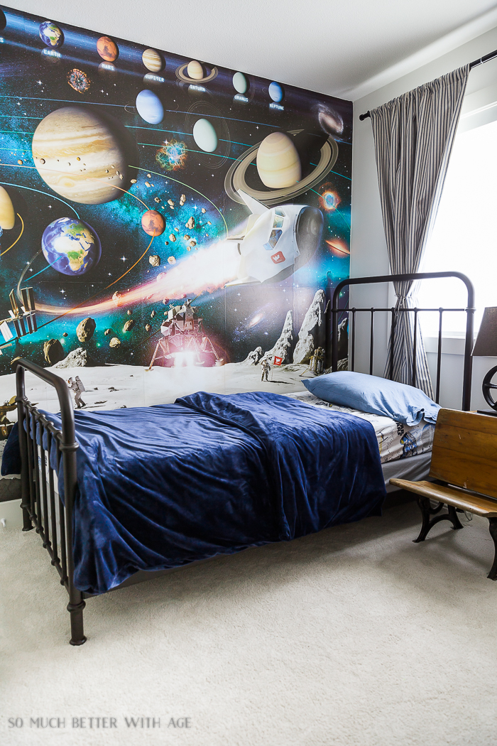 How to Hang Wallpaper on One Wall/industrial space boy's bedroom - So Much Better With Age