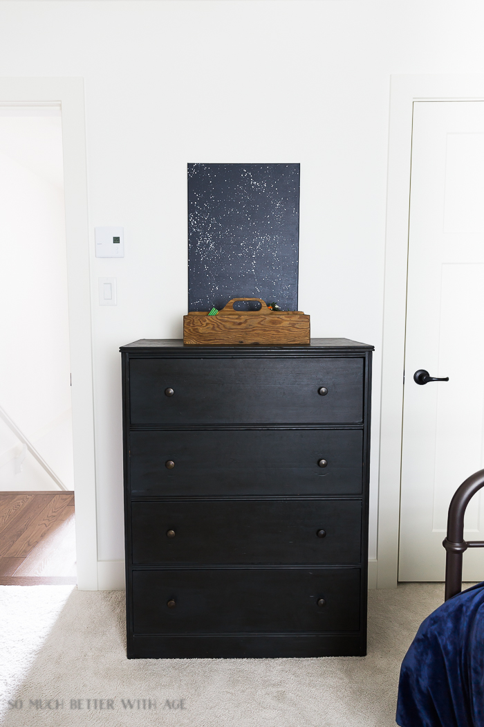 Industrial Space Boy's Bedroom Reveal/charcoal grey dresser - So Much Better With Age