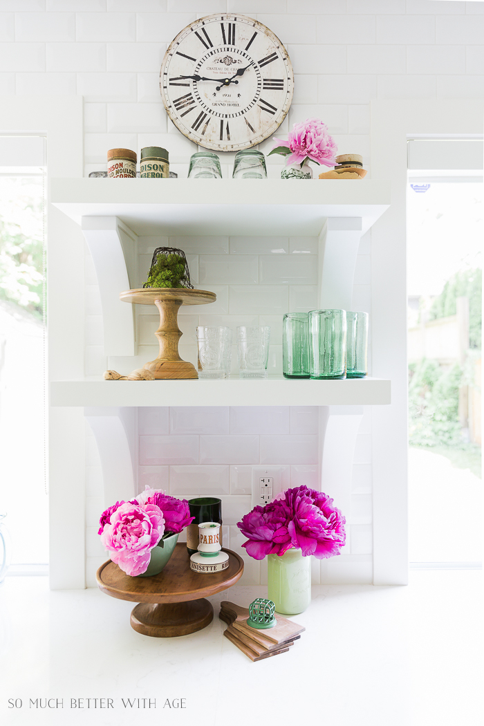 Pink and Green Summer Kitchen/open shelving kitchen - So Much Better With Age