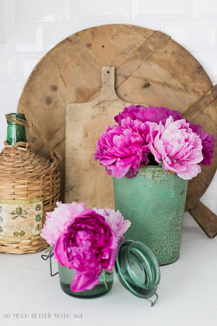 Pink and Green Summer Kitchen/pink peonies, green vases, French cutting boards - So Much Better With Age