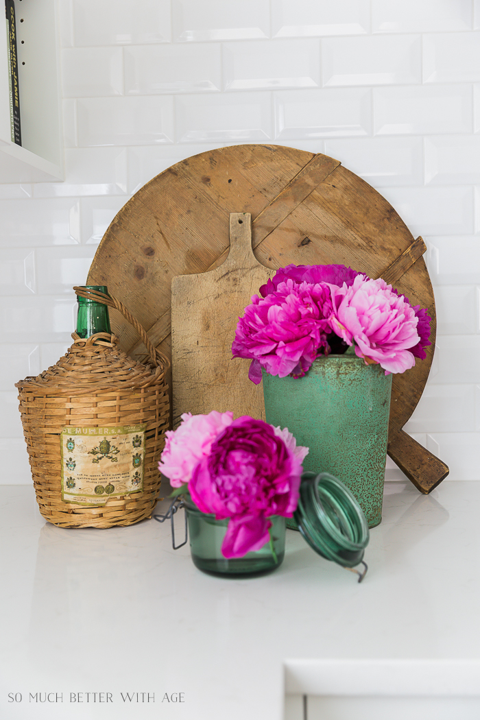 Pink and Green Summer Kitchen/pink peonies - So Much Better With Age