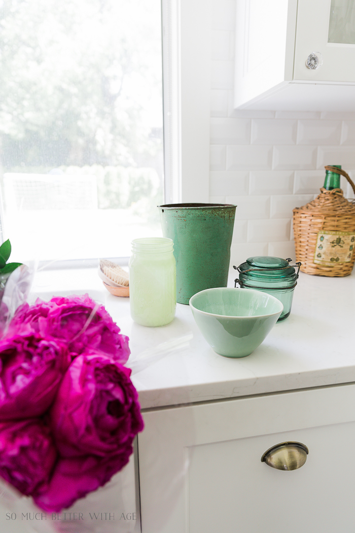 Pink and Green Summer Kitchen/pink peonies, green vases - So Much Better With Age