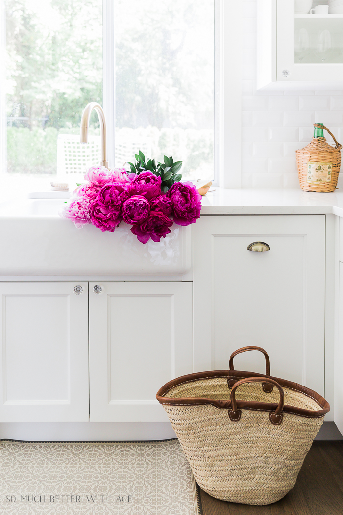 Pink and Green Summer Kitchen/pink peonies, French basket - So Much Better With Age