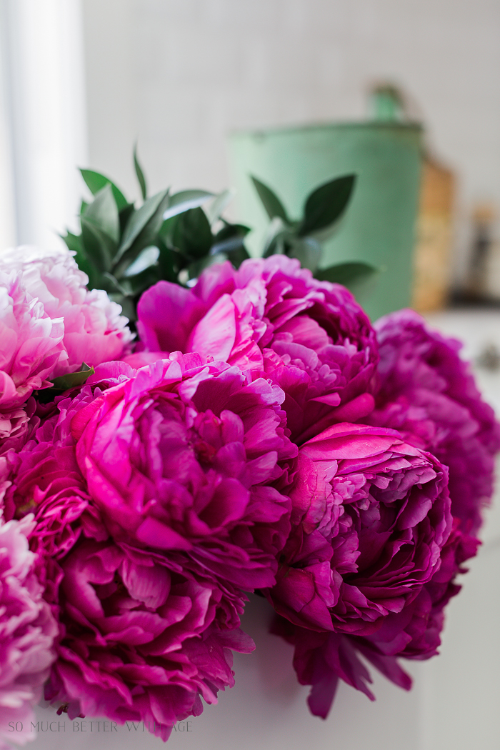 Pink and Green Summer Kitchen/ fuchsia pink peonies - So Much Better With Age