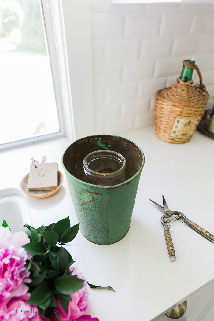 Pink and Green Summer Kitchen/ vase in sap bucket - So Much Better With Age