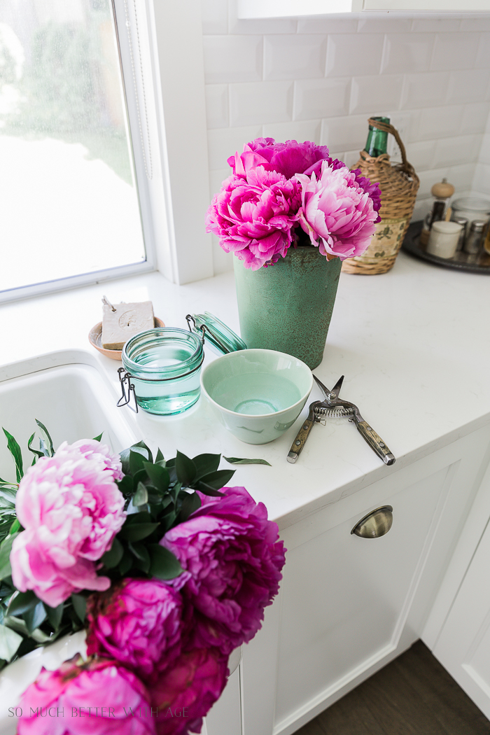 Pink and Green Summer Kitchen/pink peonies in green vases - So Much Better With Age
