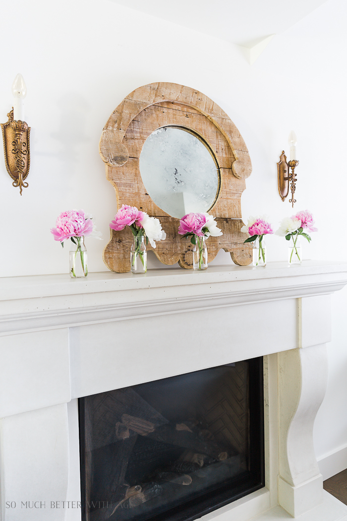 Simple Summer Mantel with Peonies/rustic mirror, gold sconces - So Much Better With Age